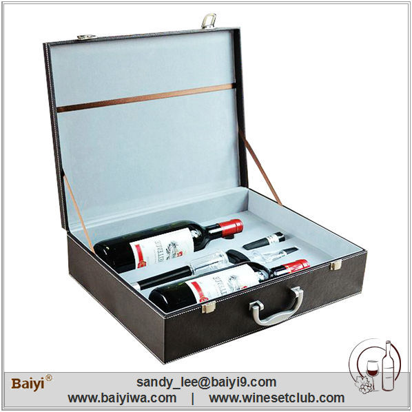 Hot Selling New Design 2 Bottles Leather Wine Carrier