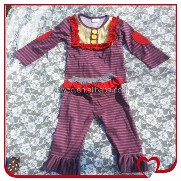 Factory Direct Wholesale Baby Girls Children Long Sleeve Stripe Top And Casual Ruffle Pant Clothing Wholesale Companies