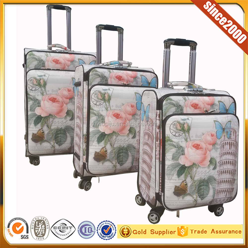 printing tower pu leather 5pcs leather suitcase , 3pcs luggage and 2 pcs hand case