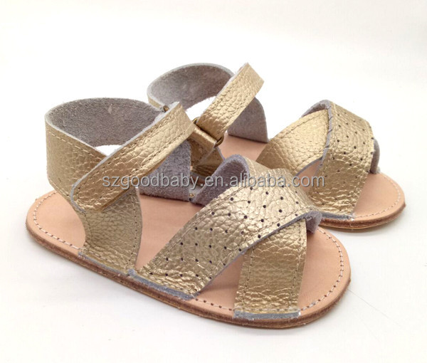 wholesale handmade summer infant newborn boy gold baby shoes