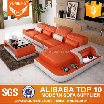 SUMENG Hot Selling Imperial Orange Leather Sofa