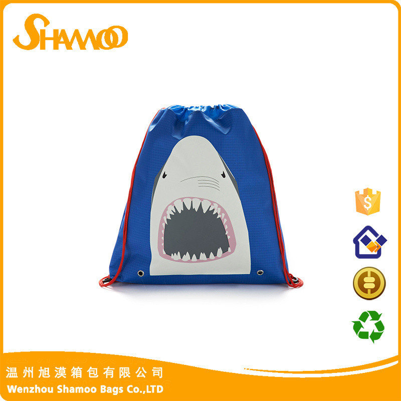 Eco-friendly 190T polyester gym shark drawstring bag