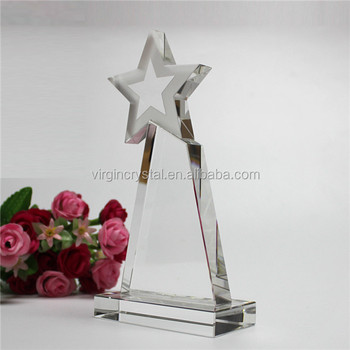Customized design crystal star trophy glass award plaque