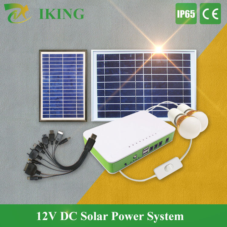 small 12v solar fan & lighting system with new design led bulb charge controller