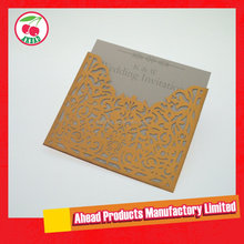 Laser Cut Flower Lace Pocket Wedding Invitation Card