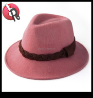 fashion waterproof fedora hat beige,camel,brown,black,red,white and pink