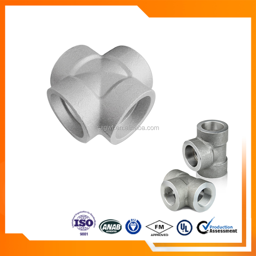 DIN Threads standard high pressure Socket Weld Cross Joint Pipe Fitting