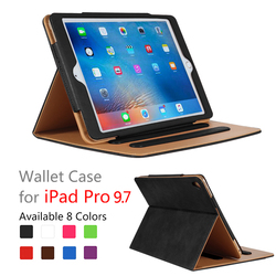 lowest price wallet stand case for ipad covers for ipad pro 9.7 with free touch screen