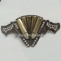 40mm R-0333-27 Wholesale customized rhinestone bulk cowboy western gun diamond belt buckle with high quality