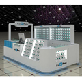 Elegance white cell phone repair kiosk with mobile phone accessories display kiosk design