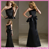 HB2081 Sexy long two pieces one shoulder ruffled waist sash tight sheath full length black satin floor length dress