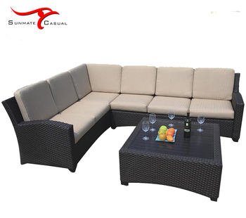 Garden Patio Balcony Back Yard Furniture Wicker PE Rattan Outdoor Seating Sofa Couch Set