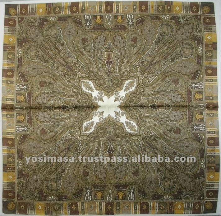 Classic Persian Pattern Hand Printing Scarf Silk Jacquard Fabric Scarf