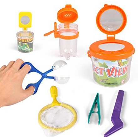 Kids Exploration Kit Bug Butterfly Catching Viewer, Magnifier Bug, Compas Whistle for Christmas Gift Toy