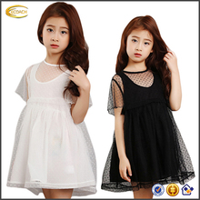 Ecoach 2016 Two pcs Inner sleeveless vest back white dress baby design Outer Short Sleeve Ball gowns girls Dress For children