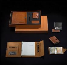leather notebook gift set with power bank and usb flash drive for teachers gift or promotion