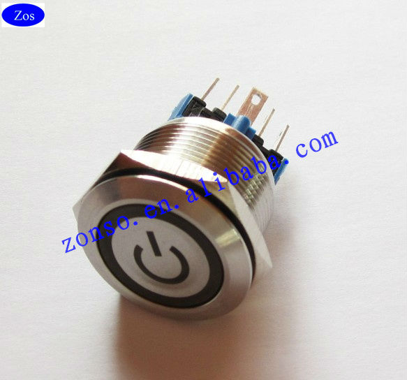 22mm Stainless steel Waterproof IP67 Ring Momentary ON Illuminated Anti-vandal Metal Push Button Switch