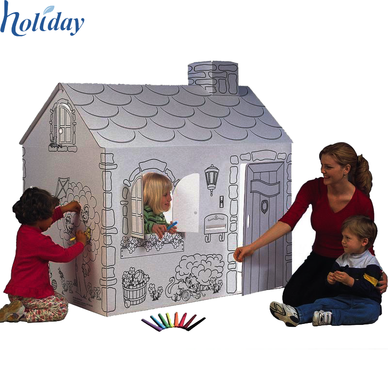 Corrugated Factory Wholesale Children Folding Cardboard House