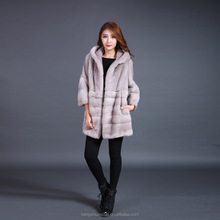 Korean style trendy ladies soft and warm 100% mink fur coat with hood