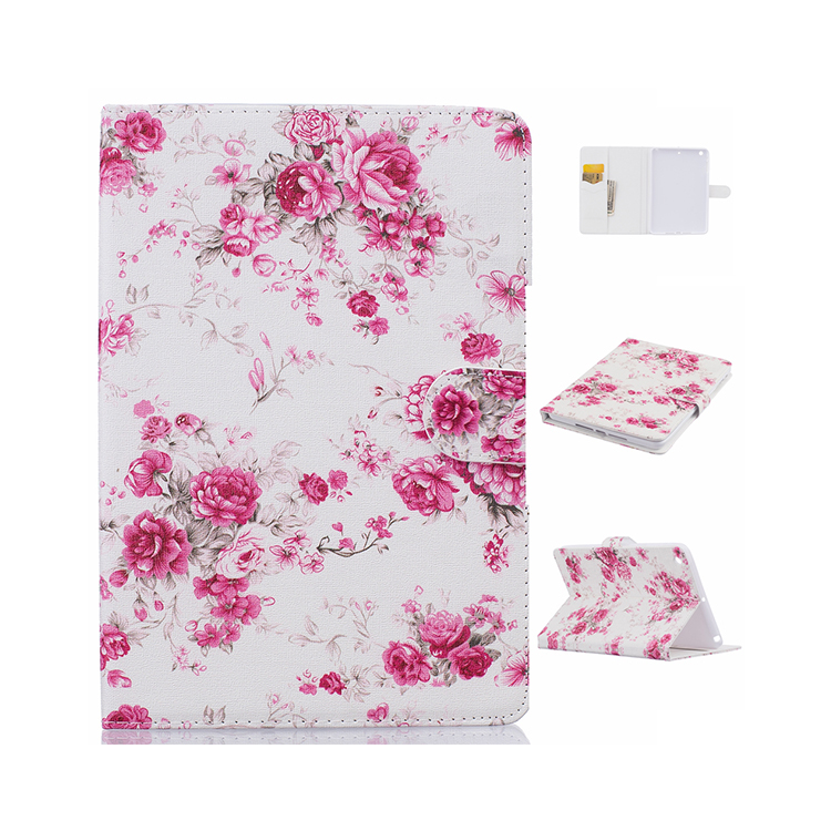 Elegant flower pattern hard leather case for your tablet
