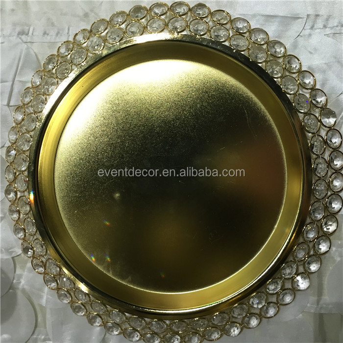 2 tier crystal beaded golden charger plates for decoration wedding centerpieces
