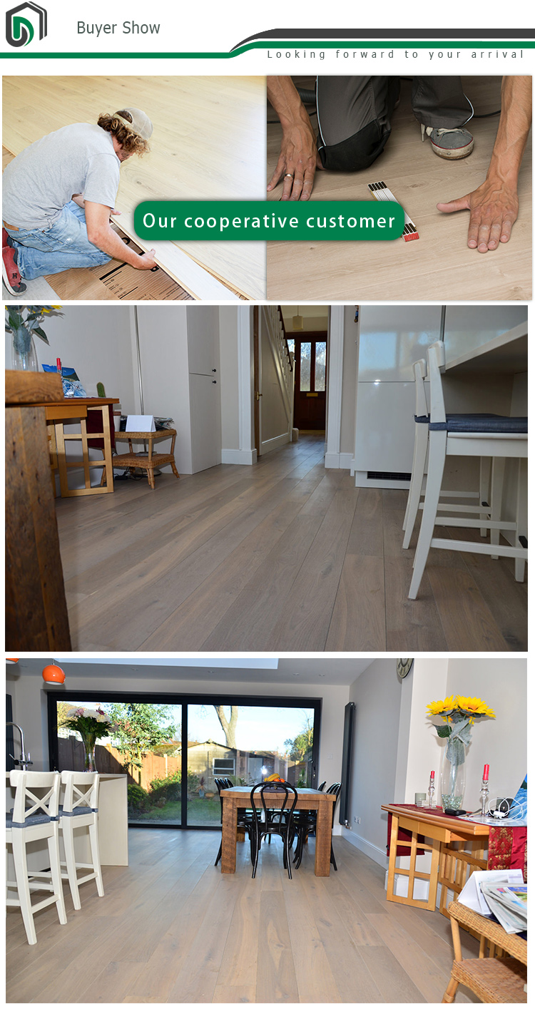 Three Layer Brushed&smoked Light Yellow UV Oil engineered wood flooring oak