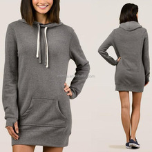 Women Hoodie Dress Classic Hoodie Pullover Casual Dresses Longline 8oz 270g polyester/cotton fleece Hoodies with crossover neck