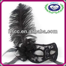 Venetian Fancy Dress Costume Masquerade Black Ostrich Feather Mask Wholesale
