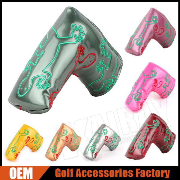 Factory Customize Gecko Embroidery Glossy PU Leather Golf Putter Head Covers