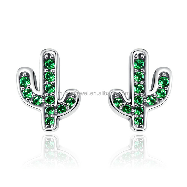 2017 New Arrival Real 925 Sterling Silver Green CZ Crystal Plant Cactus Earrings Wholesale Jewelry