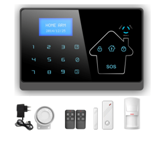 LCD Wireless APP/ Touch Panel Smart Home Security GSM Alarm System with Telephone line and SIM card Function