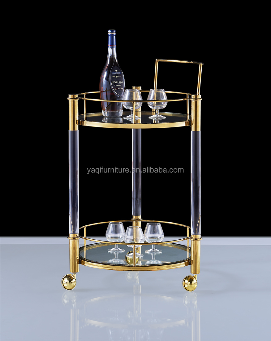 Modern appearance wine trolley acrylic material with stainless steel