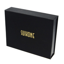 Luxury hot stamping wallet packaging box black cardboard paper gift box for wallets