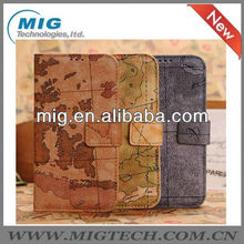 Hot selling world map leather case for samsung galaxy S4, for samsung grand case