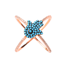best quality 925 silver party women's jewelry Zircon turquoise micro paved hand shape rings