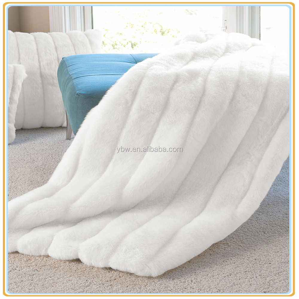 "New Products White Mink Series Faux Fur Throw 50"" x 60"""