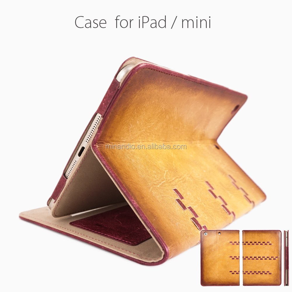 Guangzhou book pad case genuine vintage cowhide leather table case for ipad 2