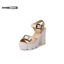 women high heel leather shoes white peep toe sandals