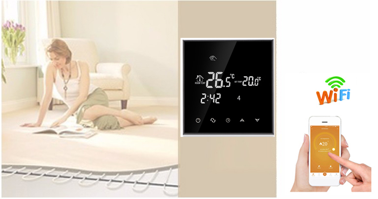 Nice Design Wall Mounted Touch Screen Electric Thermostat WiFi For Underfloor Heating