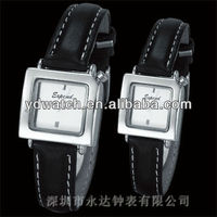 Classic black rectangular stainless steel couple pair wirst watch