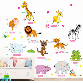 Self adhesive removable kids room decoration wall PVC cartoon animals English name sticker