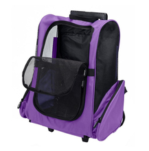 Pet Travel Carrier Backpack Trolley Bag with Wheel Telescopic Handle for Small Dogs and Cats