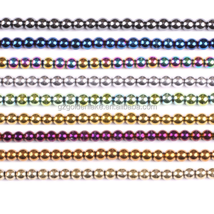 Hot selling, Lowest price, Hematite Plain Rounds, 2mm/3mm/4mm-16mm, Gemstone Loose Beads, 9 colors