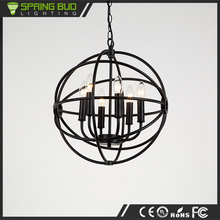 Large black iron E14 ball shaped pendant light with strong arms ceiling lamp
