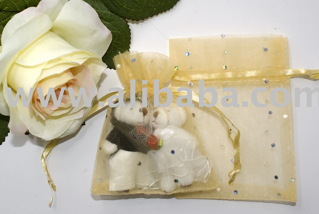 8 x 10cm Shining Dot Gift Bag (Organza) Gold