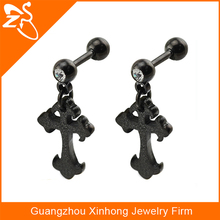 black dangling cross tragus piercing jewelry with crystal