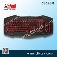 Professional LED Backlit USB Wired Multimedia Gaming Keyboard for PC Laptop (Red, blue or green single color illuminated) (C8598