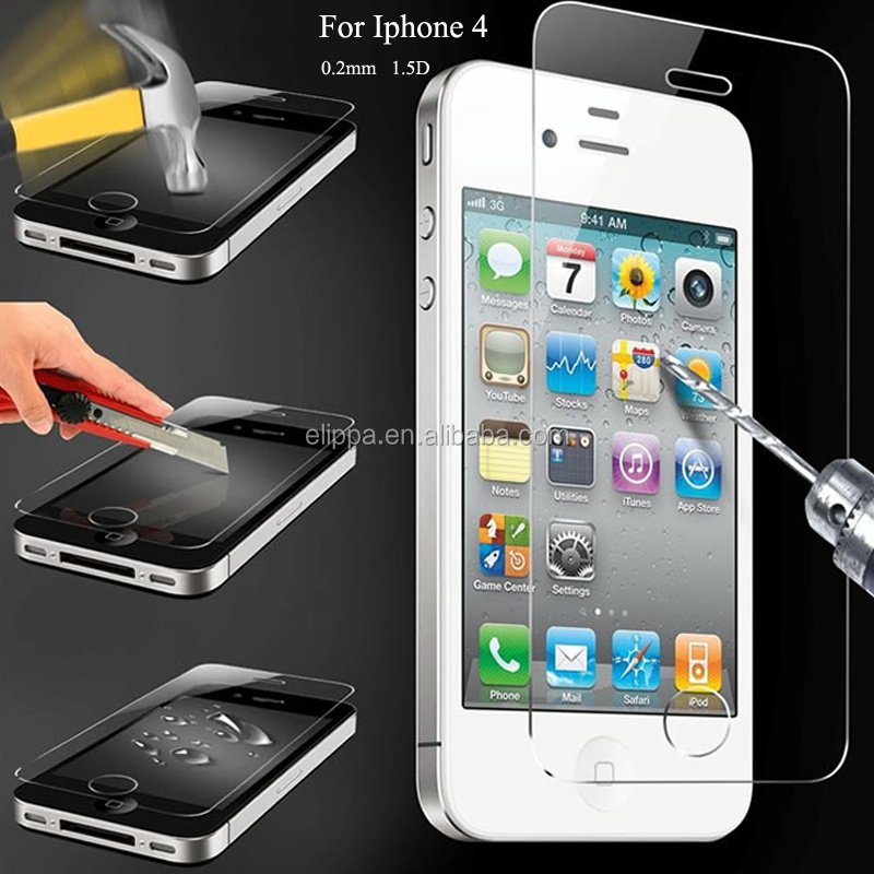 Wholesale Price Screen Protector 0.2mm flat edge Tempered Glass for iphone 4 4s Cover Ultra Thin Film For iphone 4 Toughened
