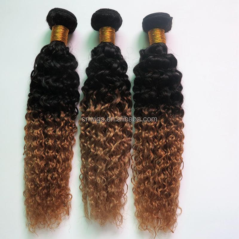 3 Bundleslot Ombre Natural Black Blonde Color Curly Human Hair