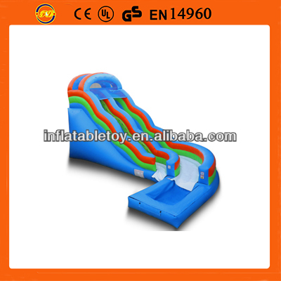 2014 Inflatable Super Wave water slide with pool ,inflatable curve water slide